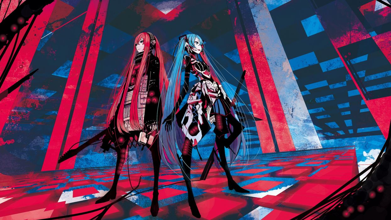 Vocaloid Hatsune Miku redheads Megurine Luka blue hair guitars twintails anime girls wallpaper