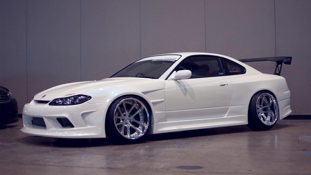 cars parking vehicles tuning wheels Nissan Silvia white cars Nissan Silvia S15 Nissan Silvia S14 wallpaper