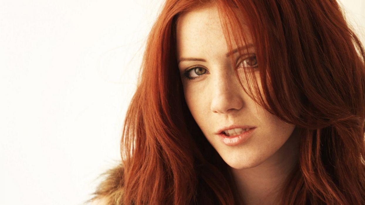 women redheads fur freckles Elle Alexandra wallpaper