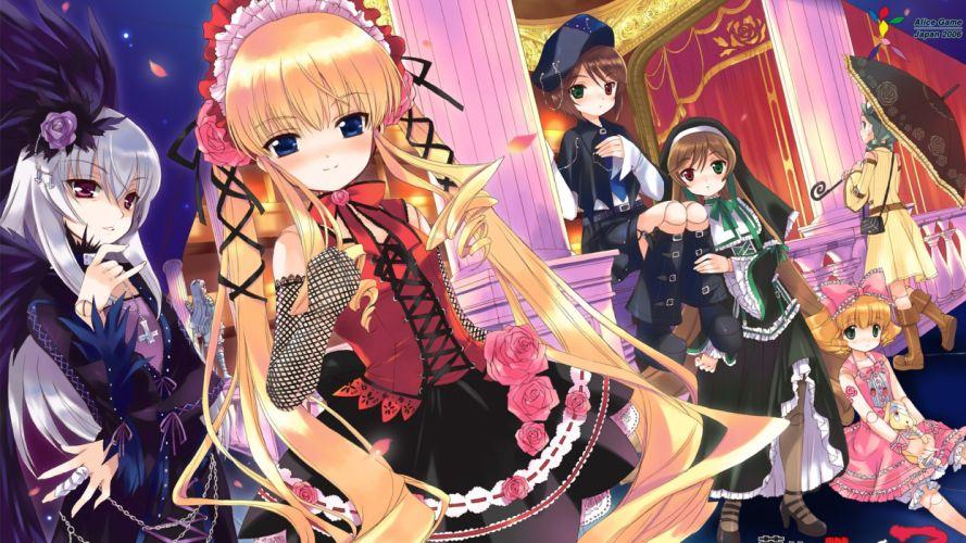 Rozen Maiden Shinku Suiseiseki Suigintou Souseiseki Kanaria Hina Ichigo bare shoulders wallpaper