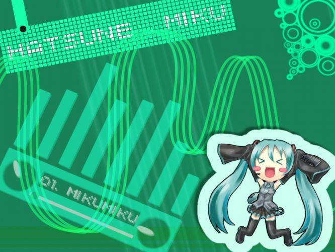 Vocaloid Hatsune Miku chibi twintails detached sleeves wallpaper