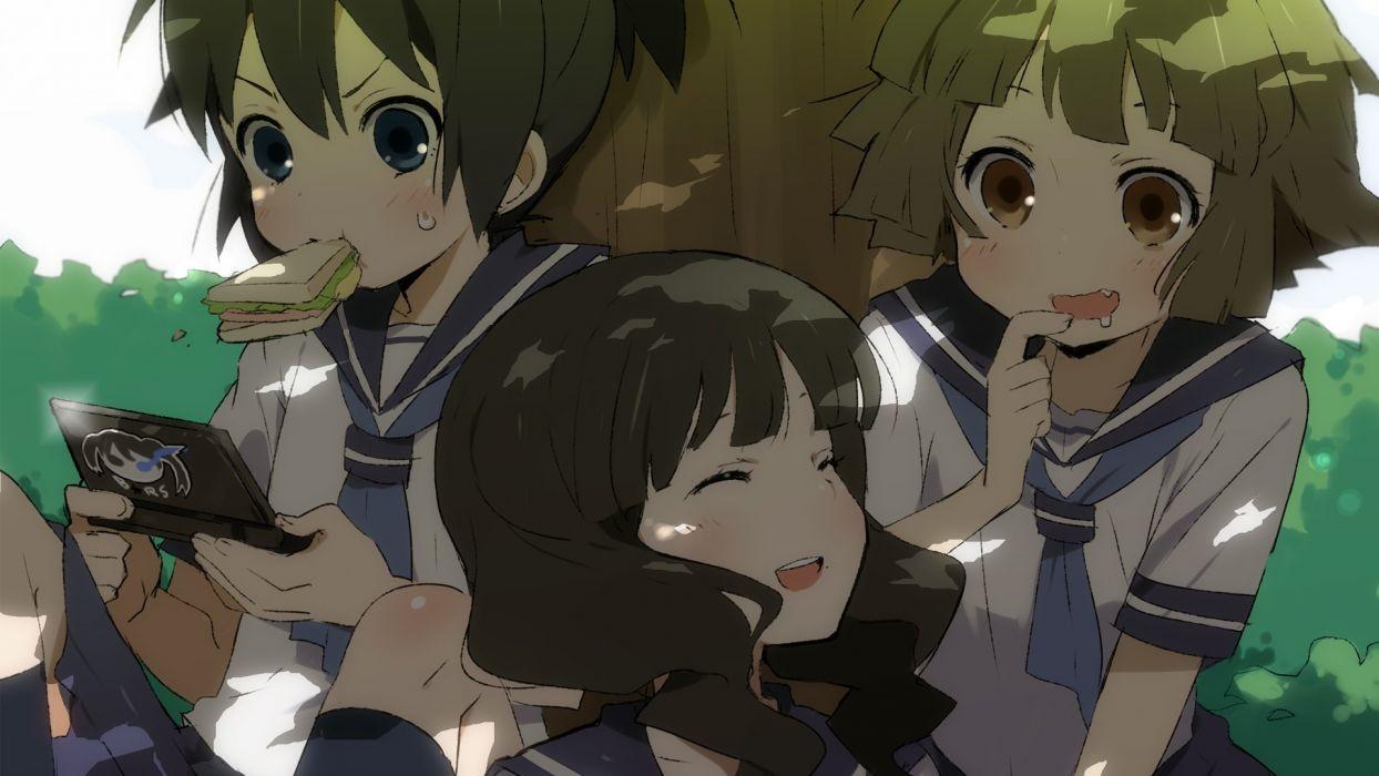 Black Rock Shooter school uniforms outdoors blush anime Takanashi Yomi Kuroi Mato anime girls playing wallpaper