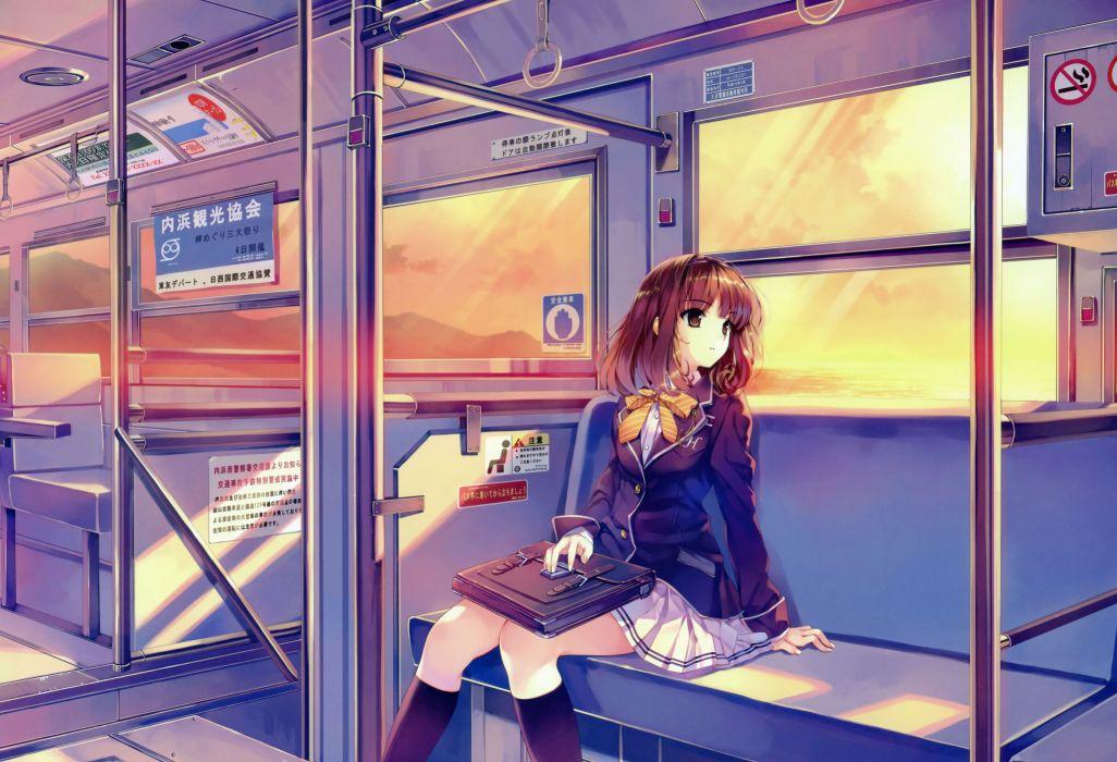 sunset school uniforms trains skirts anime Misaki Kurehito Ushinawareta Mirai wo Motomete anime girls Sasaki Kaori wallpaper