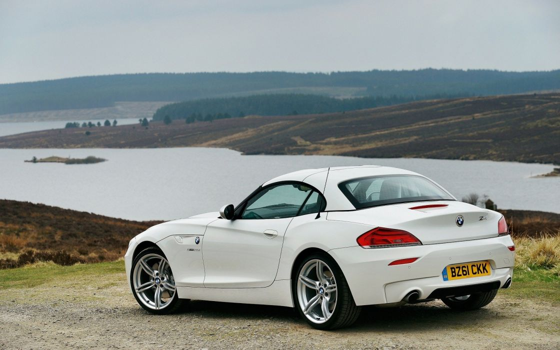 water landscapes white cars hills scenic vehicles BMW Z4 rivers skyscapes wallpaper