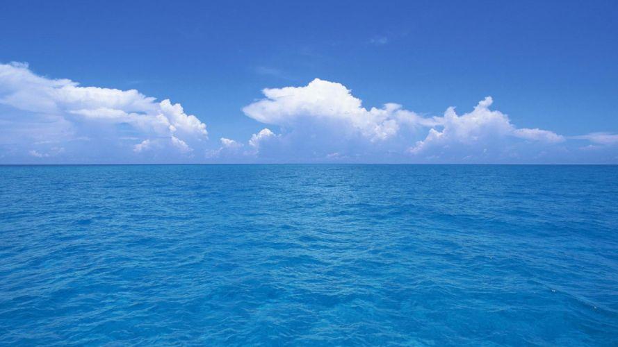 blue ocean clouds skylines sea wallpaper