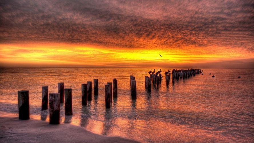 sunset landscapes nature Seascape sea beaches wallpaper