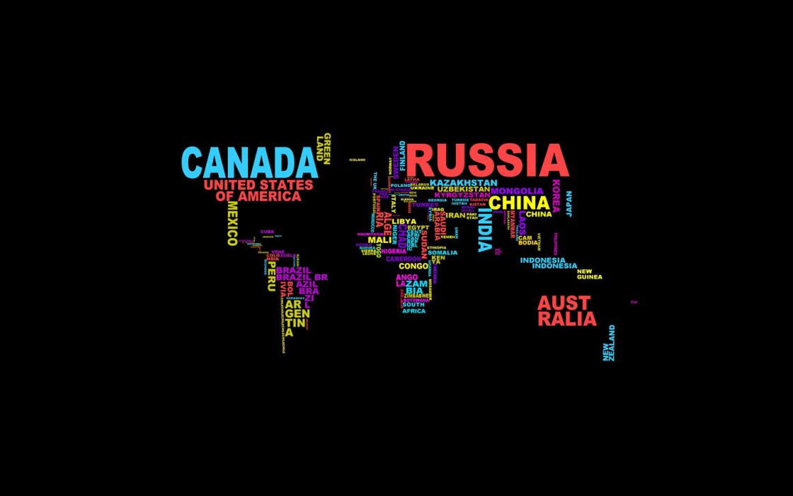 typography countries wordcloud wallpaper