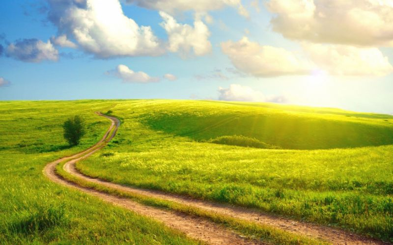green clouds nature Sun grass hills sunlight roads wallpaper