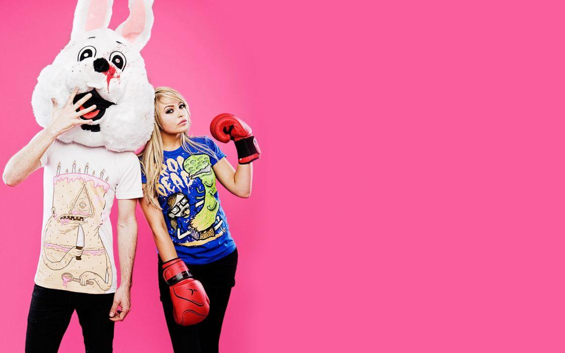 Women Pink Drop Dead Rabbits Masks Boxing Gloves Wallpaper