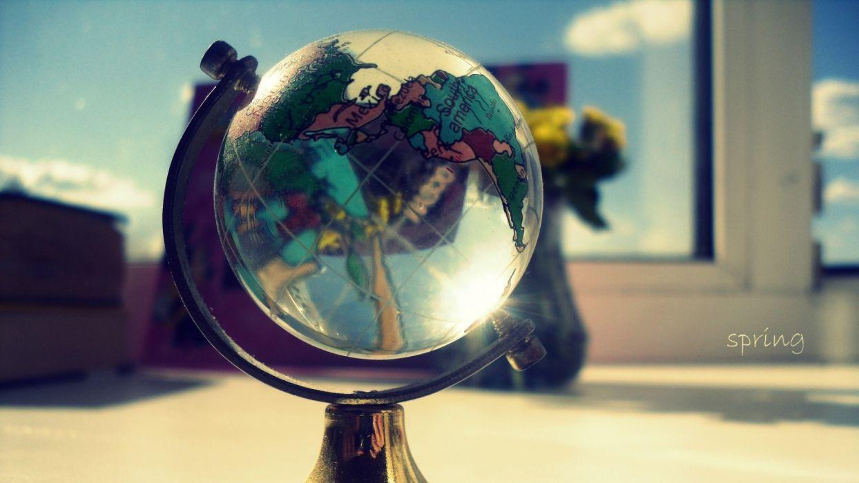 glass window spring globe wallpaper