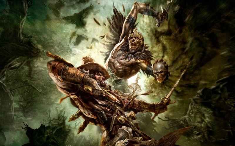 skulls video games guns monsters birds dead pirates fantasy art versus battles artwork knives hats swords hero wallpaper