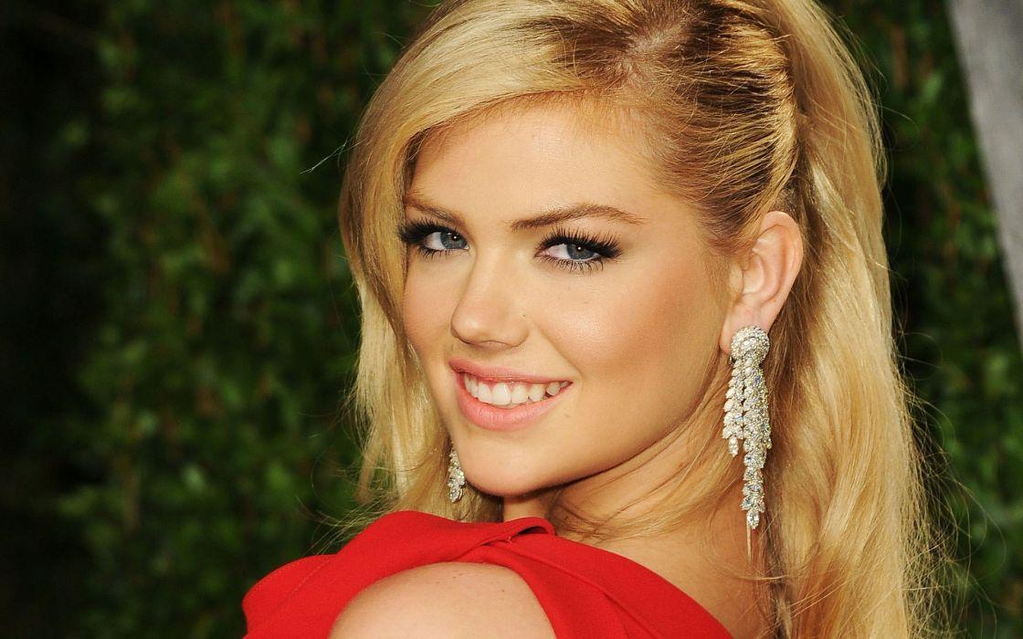 blondes women models smiling Kate Upton faces wallpaper