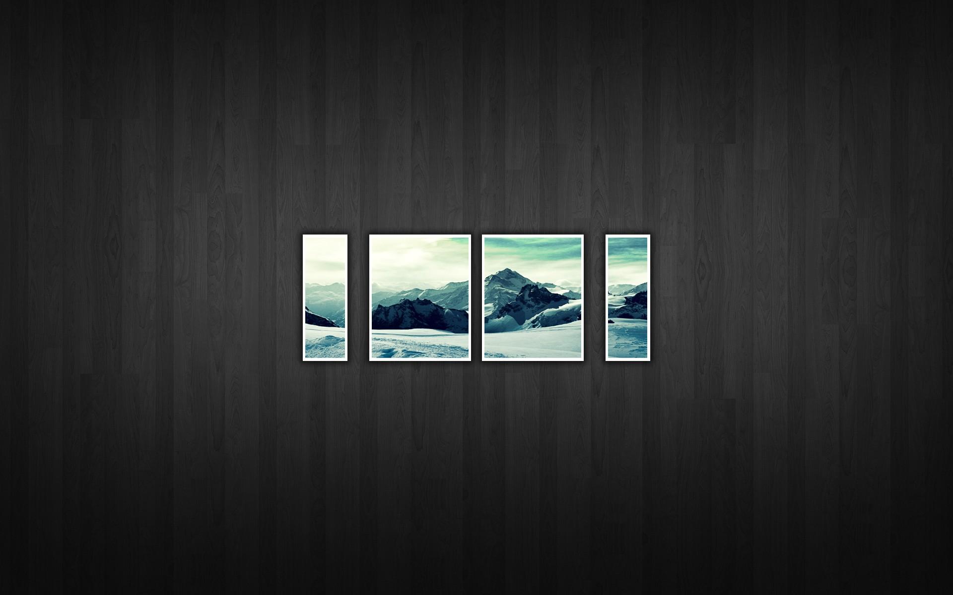 mountains landscapes frames snow landscapes wooden floor