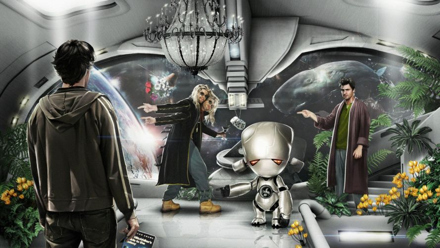 movies The Hitchhikers Guide To The Galaxy Arthur Dent Zaphod Beeblebrox Marvin the Paranoid Android Ford Prefect wallpaper