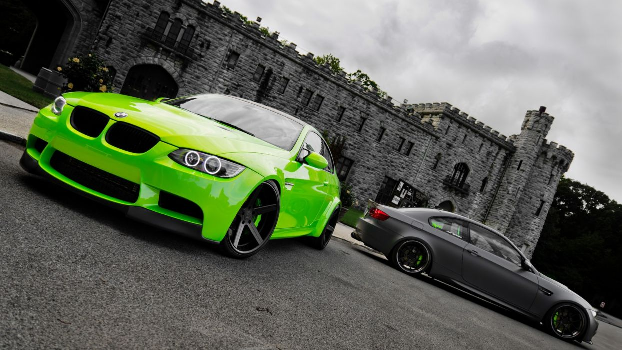 green cars BMW M3 Vorsteiner Vorsteiner GTRS3 M3 Green car wallpaper