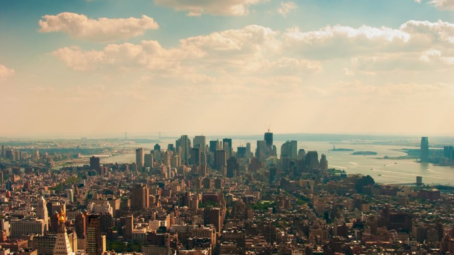 water clouds architecture buildings New York City lakes cities wallpaper