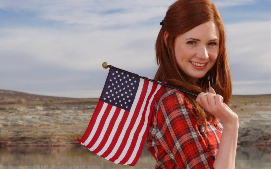 women Karen Gillan Amy Pond Doctor Who American Flag wallpaper