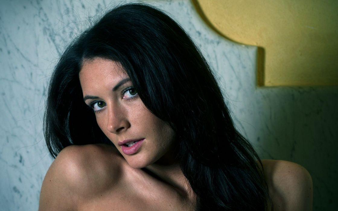women models celebrity Klaudia Orsi Kocsis black hair wallpaper