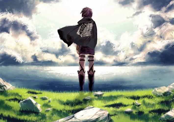 water clouds grass anime anime boys Shingeki no Kyojin Eren Jaeger wallpaper
