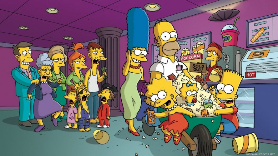 Homer Simpson The Simpsons Bart Simpson Lisa Simpson popcorn Marge Simpson Maggie Simpson Seymour Skinner Edna Krabappel movie theater wallpaper