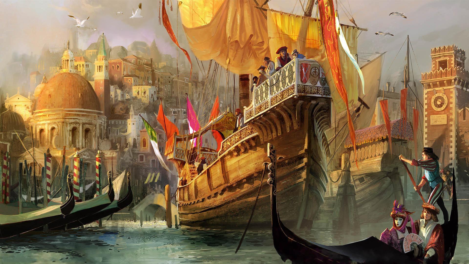 Ships fantasy art artwork medieval wallpaper | 1920x1080 ...