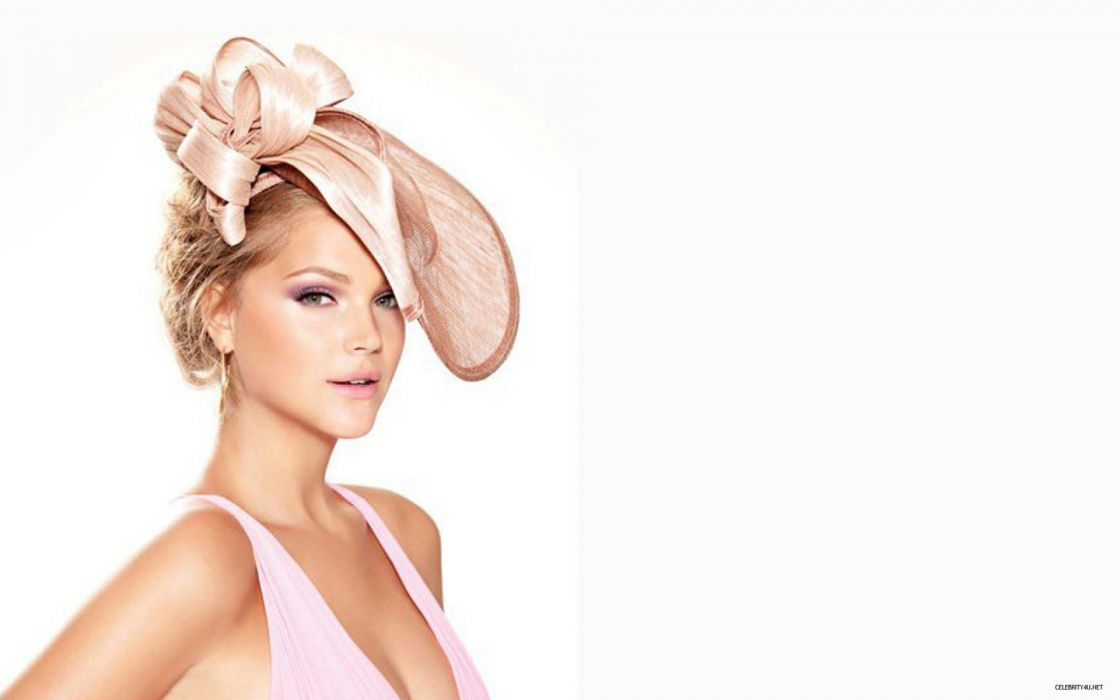 brunettes women white models Esti Ginzburg hats white background wallpaper