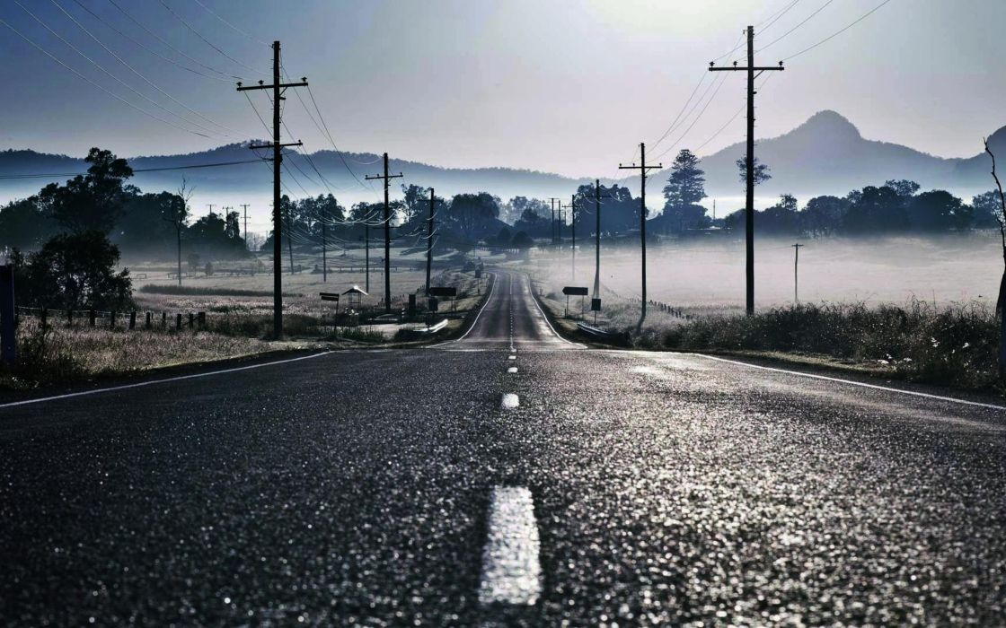 fog mist roads lines empty skies wallpaper