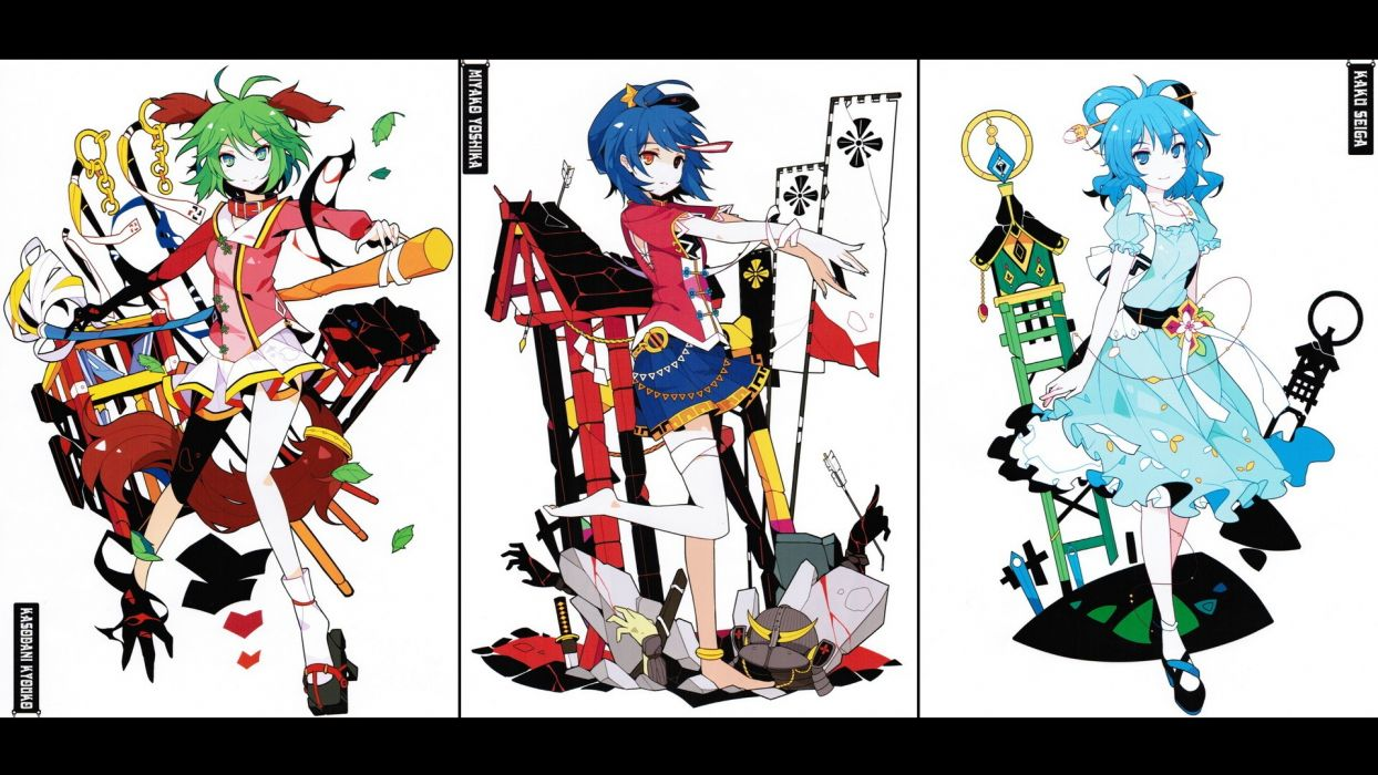 tails video games Touhou dress multicolor stars undead text blue eyes blood zombies leaves skirts stones weapons socks blue hair green eyes barefoot heterochromia animal ears black eyes short hair green hair long nails collar sandals arrows chains helmets wallpaper