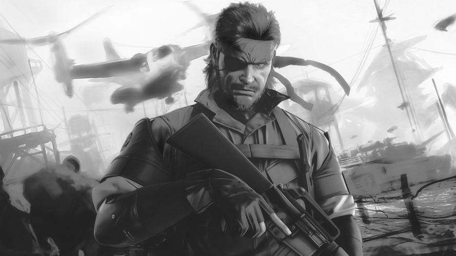 video games Metal Gear Solid monochrome artwork Peace Walker Big Boss wallpaper