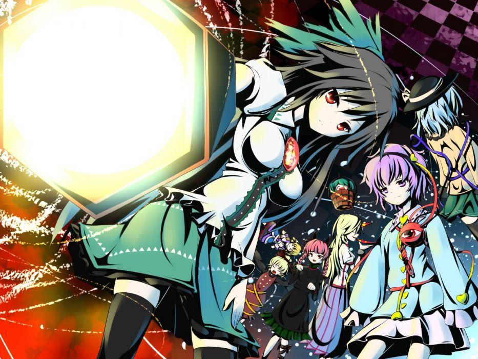 video games Touhou Kaenbyou Rin Reiuji Utsuho Komeiji Koishi Komeiji Satori Hoshiguma Yuugi Kisume Kurodani Yamame Mizuhashi Parsee anime girls wallpaper