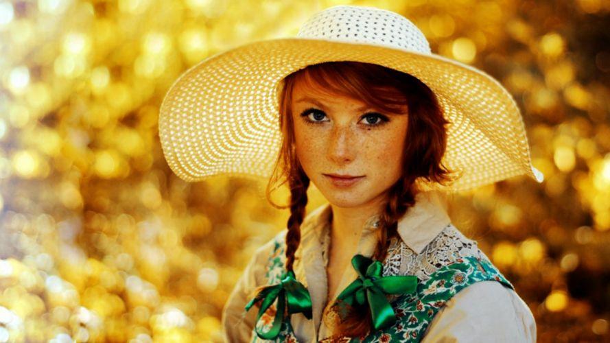 women redheads freckles wallpaper