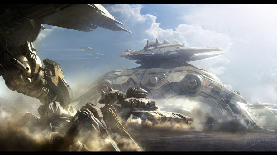 light clouds aircraft robots futuristic tanks digital art artwork wallpaper