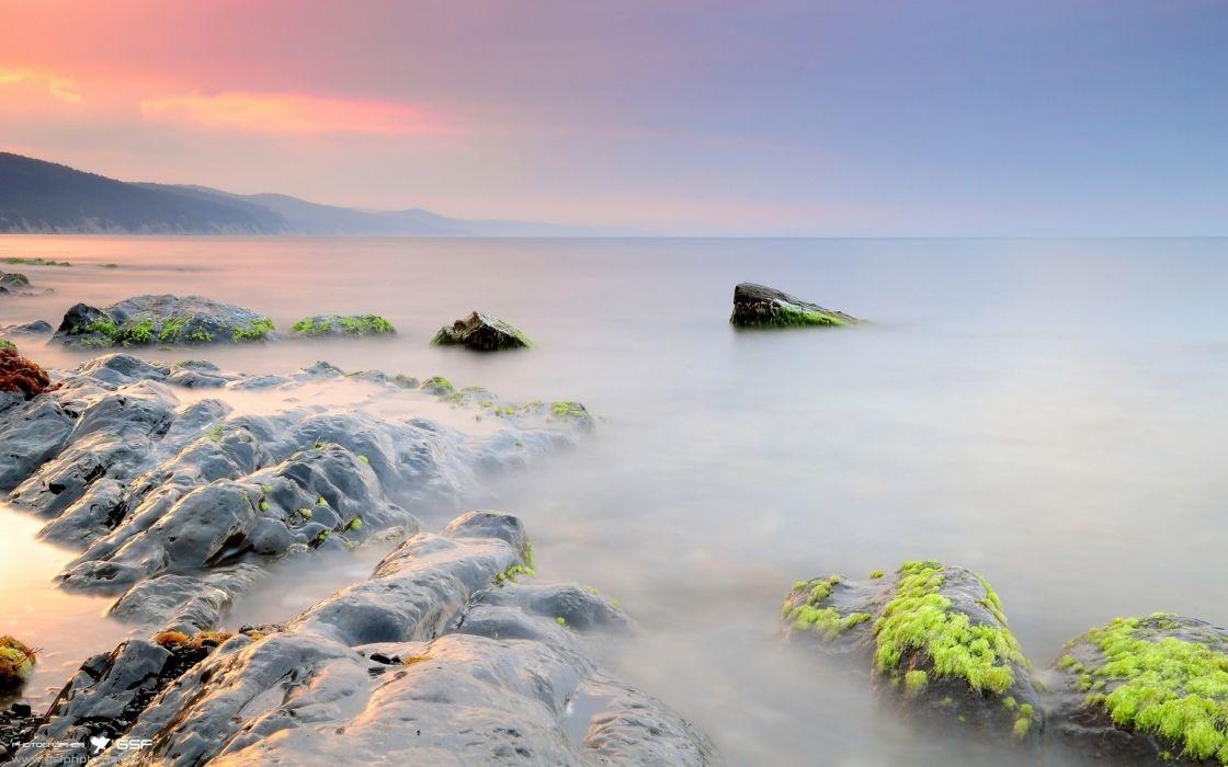 landscapes nature wet rocks stones surface fog moss silence veil wallpaper