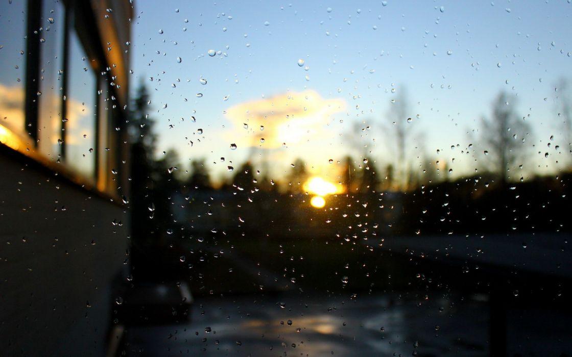 sunset nature rain bokeh window panes wallpaper