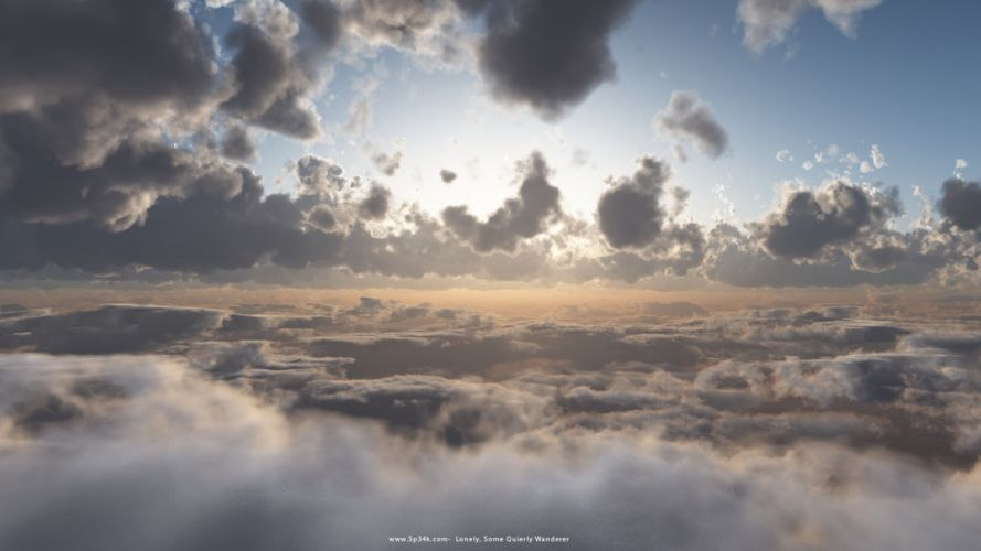 clouds landscapes lonely realistic Vue e-on skies renders wallpaper