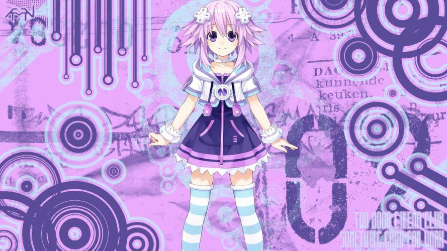 purple hair short hair anime purple eyes anime girls Hyperdimension Neptunia wallpaper