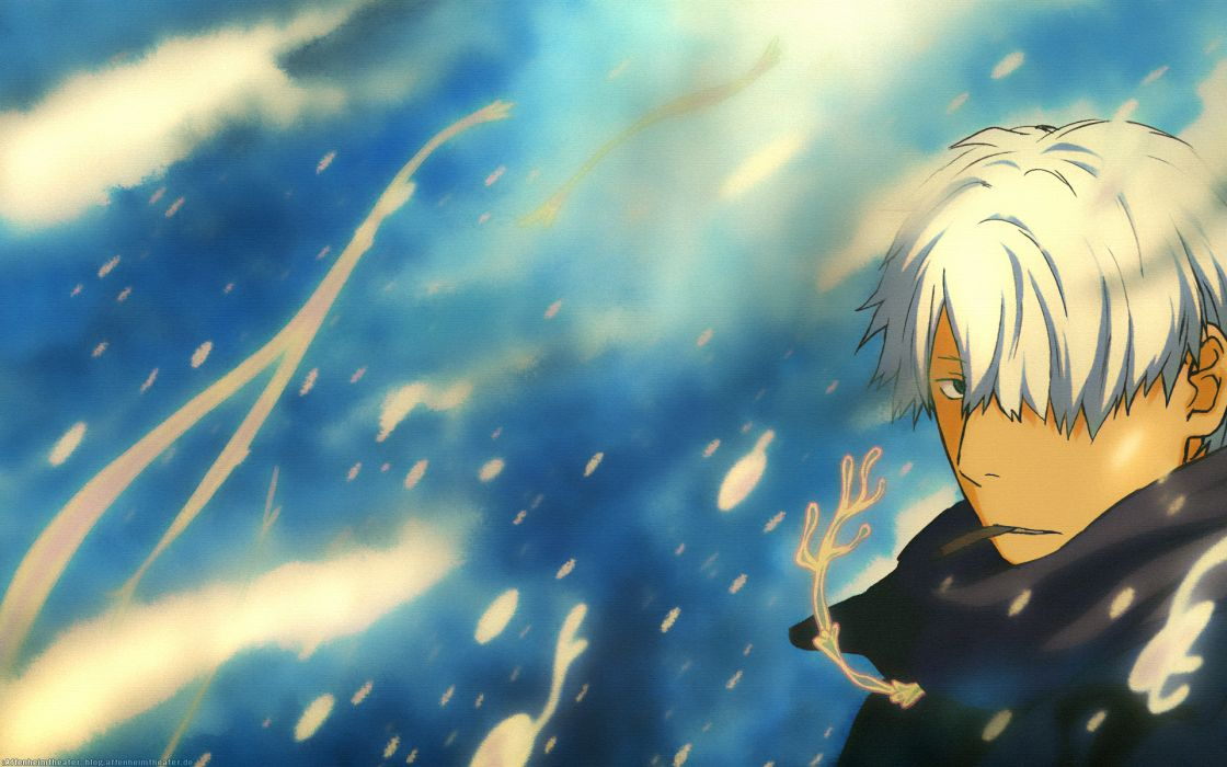 Mushishi anime boys Ginko cigarettes white hair windy wallpaper
