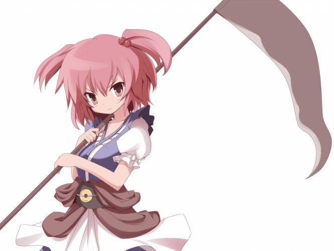 video games Touhou scythe twintails Onozuka Komachi Japanese clothes simple background wallpaper