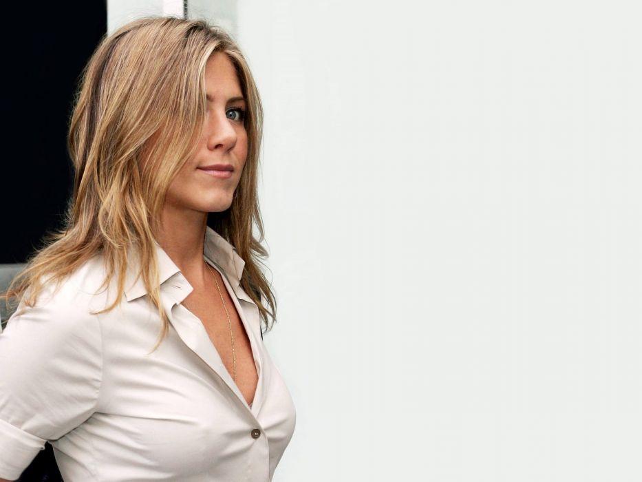 blondes women actress Jennifer Aniston celebrity white background wallpaper