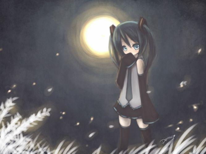 light Vocaloid Hatsune Miku Moon detached sleeves wallpaper