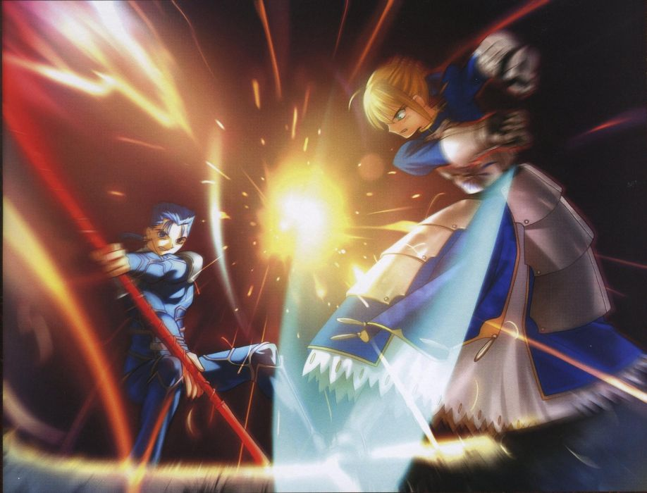 Fate/Stay Night artbook artwork characters Saber  Lancer (Fate/stay night) scans Fate series wallpaper