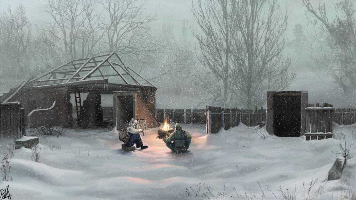 video games winter snow S_T_A_L_K_E_R_ fences houses Pripyat Chernobyl artwork villages wallpaper