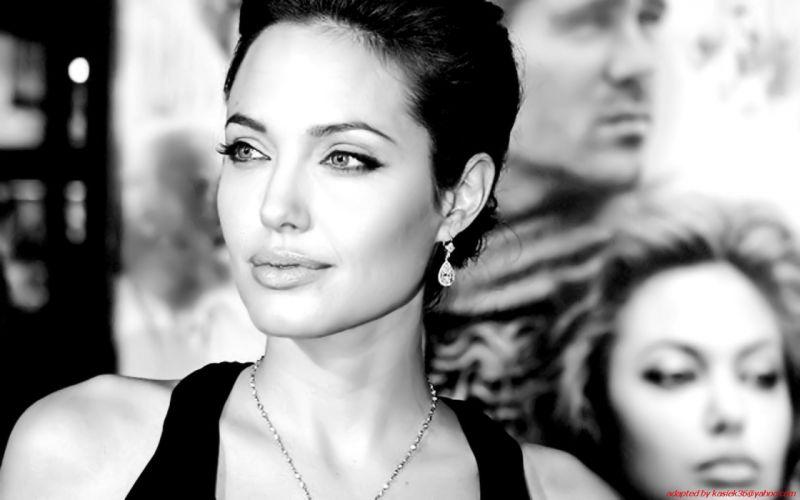 women Angelina Jolie monochrome wallpaper