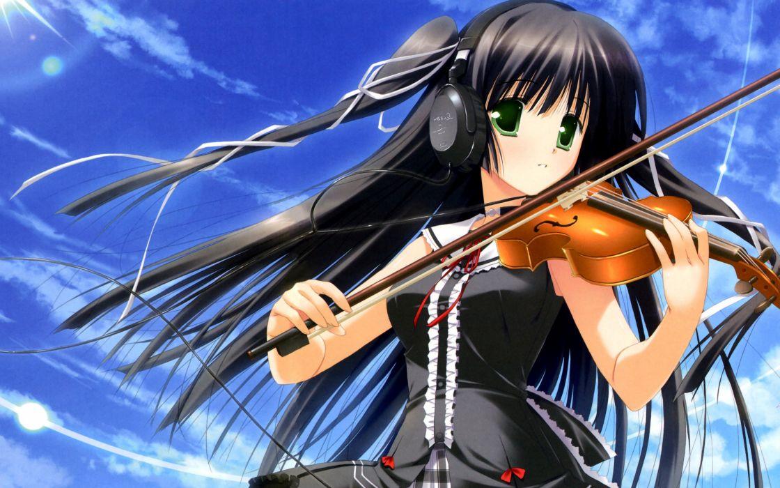 Headphones Green Eyes Violins Anime Black Hair Violinist Wallpaper