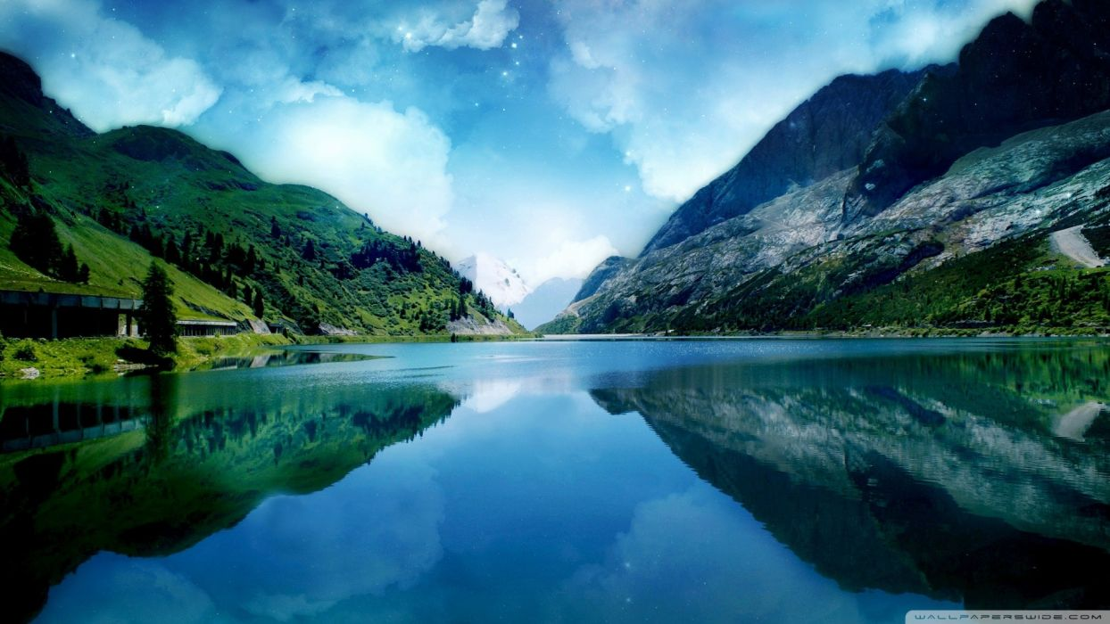 blue mountains lakes skyscapes reflections wallpaper