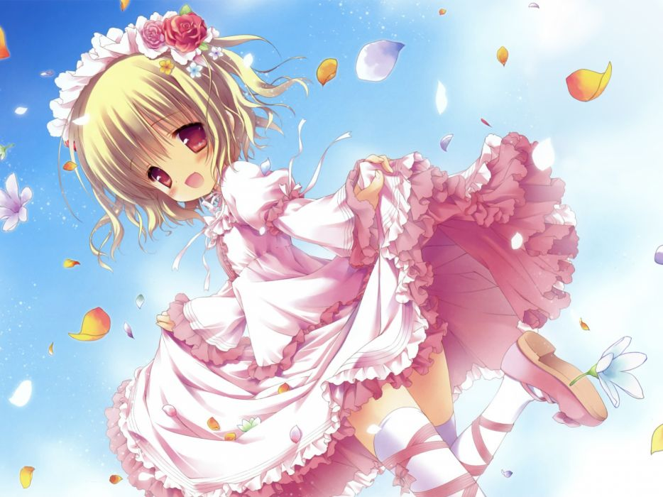 blondes dress blossoms thigh highs lolicon anime pink eyes lolita fashion flower petals anime girls looking back wallpaper