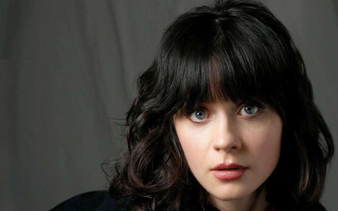 brunettes women close-up eyes blue eyes actress Zooey Deschanel long hair faces wallpaper