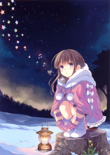 brunettes music gloves night lights stars skirts long hair lanterns purple eyes anime girls singing scans original characters Tometa Ohara wallpaper