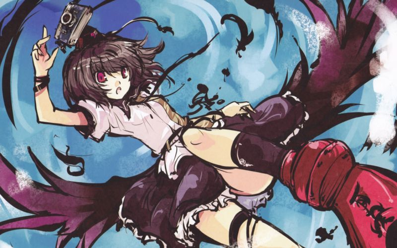 brunettes video games Touhou wings flying tie skirts socks feathers cameras red eyes short hair Shameimaru Aya shirts open mouth skyscapes hats tengu tokin hat geta garters wallpaper