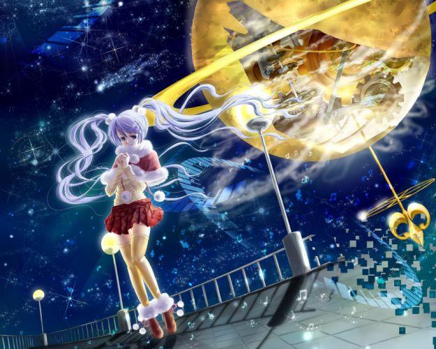 Vocaloid Hatsune Miku thigh highs twintails wallpaper